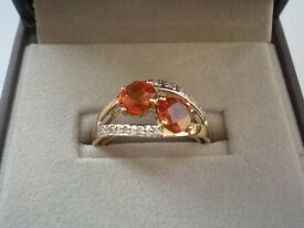 Garnet gold ring, size 7
