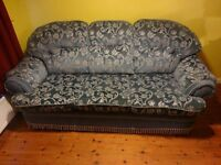 3 Piece Suite - Sofa couch and 2 x Arm Chairs Retro style USED Blue Comfortable
