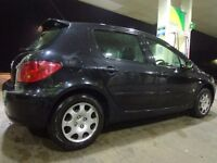 2005 black peugeot 307 1.4 5 door+mot till feb 2018 taxed and FREE DELIVERY