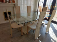 Italian glass-top dining table + 6 leather chairs