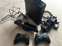 X Box 360 4gb with Kinect power pack 2 Controllers and bundle of 4 Games