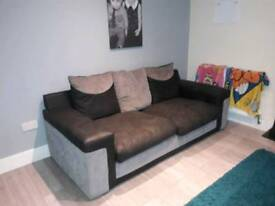Sofa & swivel chair settee black/grey