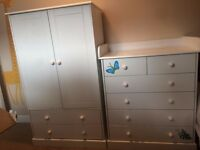 Baby bedroom furniture includes wardrobe and chest of drawers