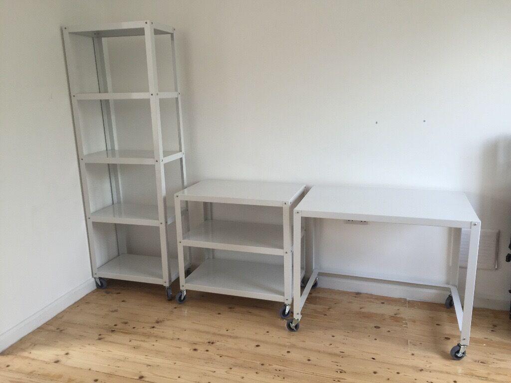 Habitat SMITHY white metal book shelves and desk (set of 3)