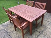 Garden Furniture: new wooden garden table and 4 chairs