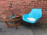 Vintage HITCH MYLIUS Leather Chair Swivel Mid Century RETRO
