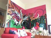 Original graffiti art double canvas - perfect for loft style apartment