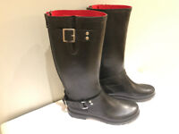 Dune Black rubber 'Fashion Riding Boots' with red lining,rear zip & 2 adjustable side buckles