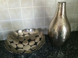 Hammered vase and decorative bowl set