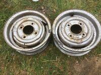 "£7 to post Mini trailer steel wheels 145x10 145 X 10"" 10 inch rims spare boat folding"