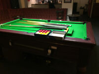 Superpool Prince 7 X 4, Slate Bed, Coin Op Pool Table - Trolley, Dowsing Iron, Cues, Spare Balls.