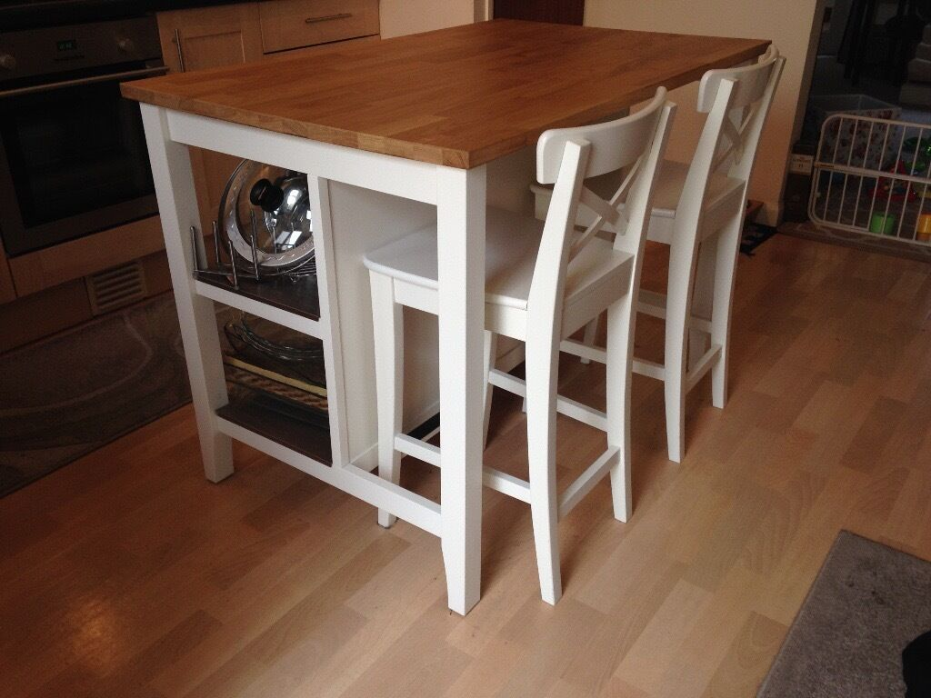 Like New Kitchen Island With Matching Chairs Ikea