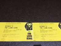 Lion King 6 Tickets for sale for 30th Sep 7.30 show - Stalls