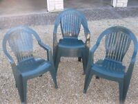 Six off green low back plastic garden or function chairs