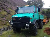 Mercedes Unimog U1300AG, 1979, Chieftain 10 ton low loader, would sell separately.