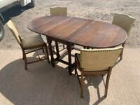 Drop leaf gate leg table and chairs