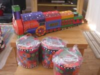 Brand new, in box Childrens Christmas packaging boxes. 5 piece train and 3 round boxes