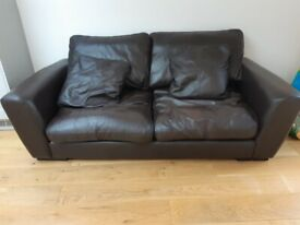 Quality brown leather sofa from Heals