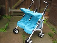 SILVER CROSS DOLLS DOUBLE BUGGY / PUSHCHAIR / PRAM. EXCELLENT CONDITION