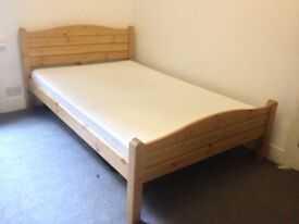 Small Double Bed Pine With Memory Foam Mattress