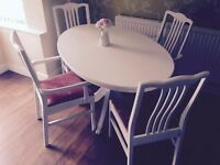 Dining table (farmhouse,shabby chic style) in white with 4 chairs