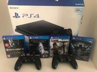 PS4, 2 wireless controllers plus 4 games
