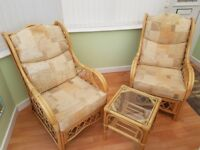 Two Daro-cane Conservatory Armchairs & Side Table
