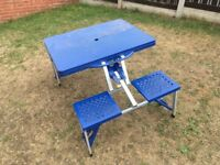 Camping / Picnic Table. 4 Seat. Fold Up. Blue