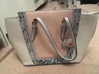 Cream and pink handbag used once