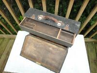 Old wooden tool box with handle & internal drawer