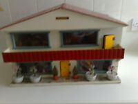 Dolls House with Collection of Dolls & Furniture