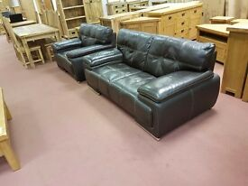 Modern leather 2 seater Sofa + Chair