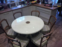Distressed Dinning Table Round ( Diameter 1.1m) with six antique chairs , tempered Glass top