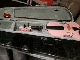 Pink violin bow and case