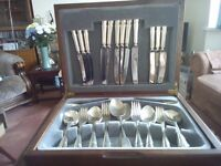 Cutlery set, boxed, silver plated