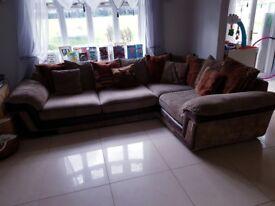 Brown corner sofa.