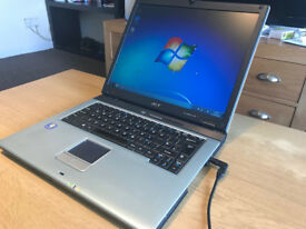 """ACER WINDOWS 7 LAPTOP 15"""" INTEL LAPTOP 80GB HDD 1.5GB RAM AND OFFICE 2007 PRO CHARGER INCLUDED"""