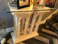 Greek Themed Stoned Hall Table with Glass top