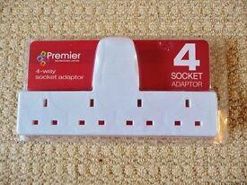 Premier 4 Way Socket Adaptor / Adapter Mains Plug In Extension