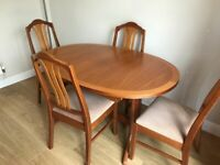 Parker Knoll extending dining table & 4 chairs
