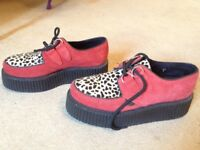 Authentic Underground Red/Leopard print Creeper Shoes Size UK6/EU39