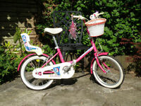 Raleigh girl's bike with accessories. 16 inch wheels, age 4 - 6.