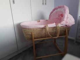 Clair de lune rocking Moses basket and stand