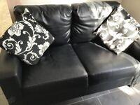 Black Small Faux Leather Sofa