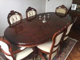 Italian Inlaid Table On Double Pedestal 2 Carvers 4 Dining Chairs