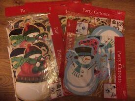 Christmas Decorations 27 asst Snowman Penguin Party Cutouts Pieces Xmas Decorations Brand New £ 3
