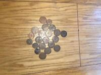 16 'one penny' coins and 5 'half penny' coins (1898 - 1967)