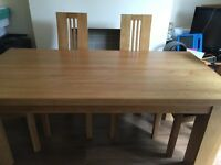 Solid oak dining table with 4 chairs collection Garston