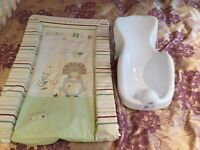 Baby bath support and changing mat