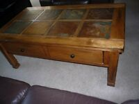 Coffee table, solid oak with 2 drawers